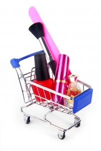 makeup accessories in shopping trolley