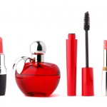 Cosmetics set for makeup on white background